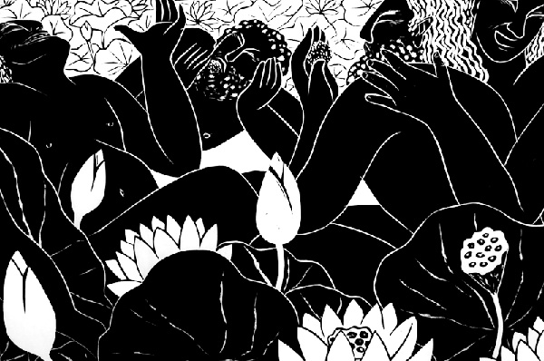 woodcut print The Lotus Eaters