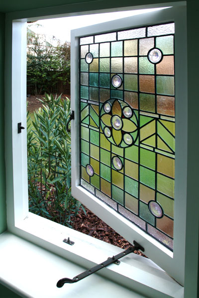Coloured glass window panel frame for Coloured glass panels