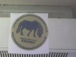 THIS IS OUR BLUE PONY ON GOLD BACKGROUND STICKER