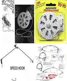 2 yoyo automatic fishing reels and 2 speedhooks for Automatic fishing reel