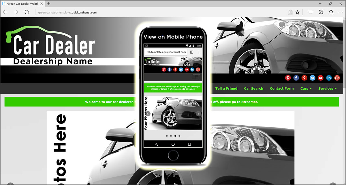 Green Car Web Templates