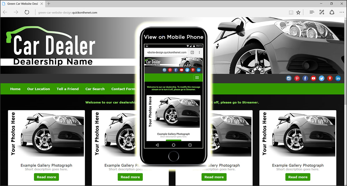 Green Car Website Design