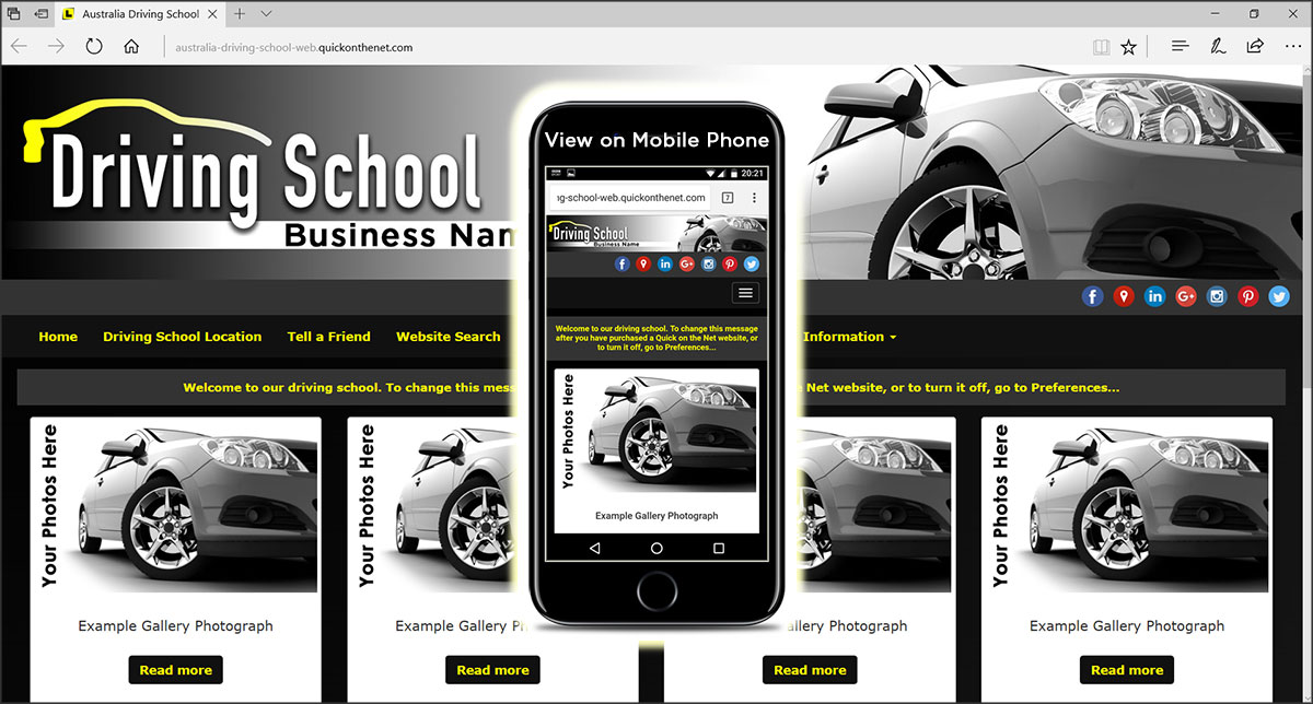 Australia Driving School Web Template using Yellow L Plates for Learners