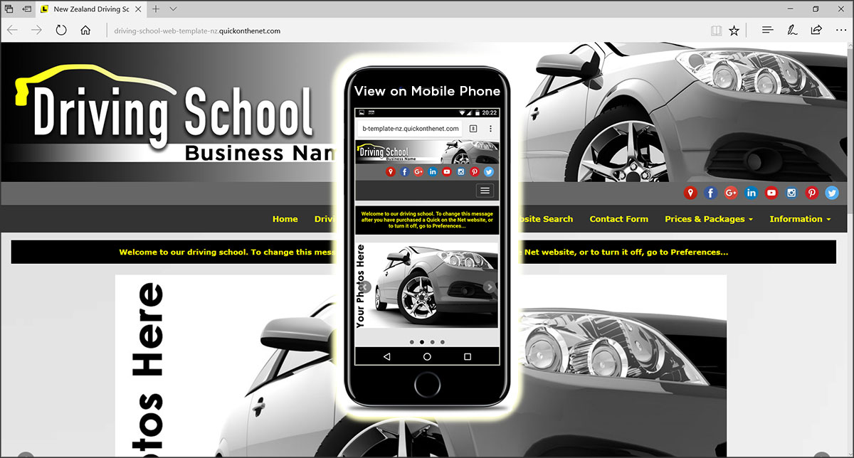 Driving School Web Template NZ with Yellow L Plates